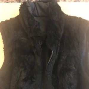 CAbi size XS black fur reversible black vest